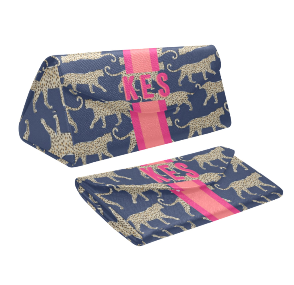 Leopard Navy Eyewear Case