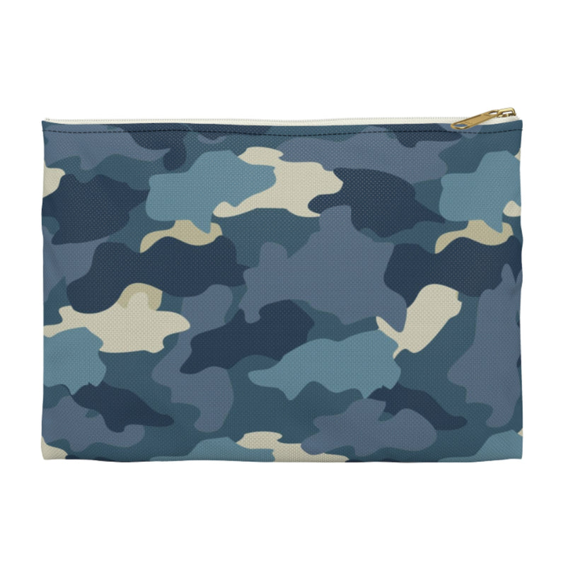 Camo Blue Large Zippered Clutch