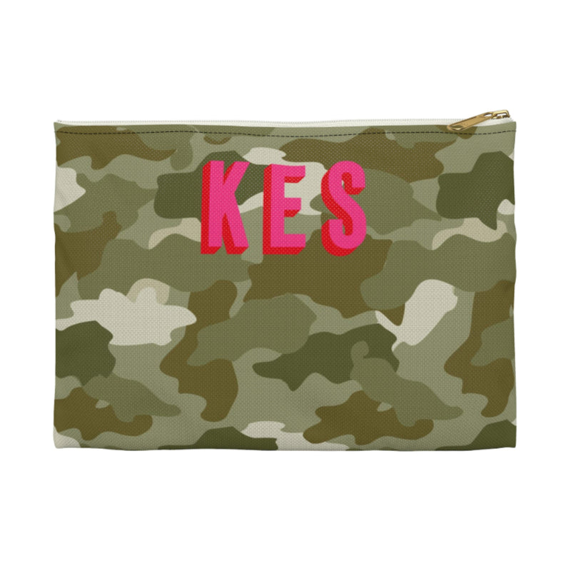 Camo Green Large Zippered Clutch