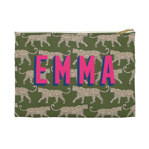 Leopard Green Large Zippered Clutch