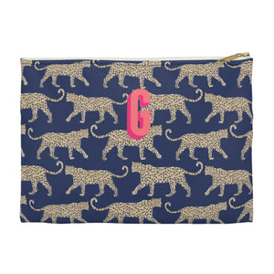 Leopard Navy Large Zippered Clutch