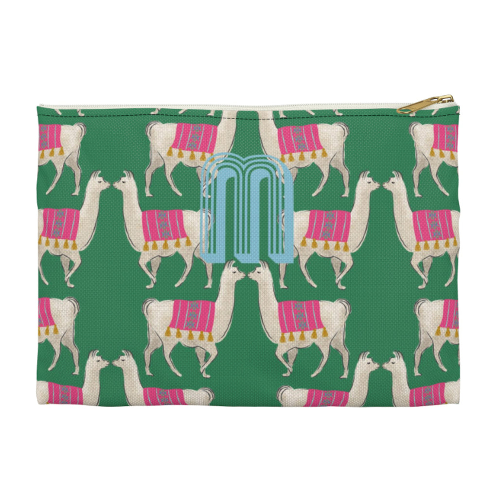 Llama Green Small Zippered Clutch