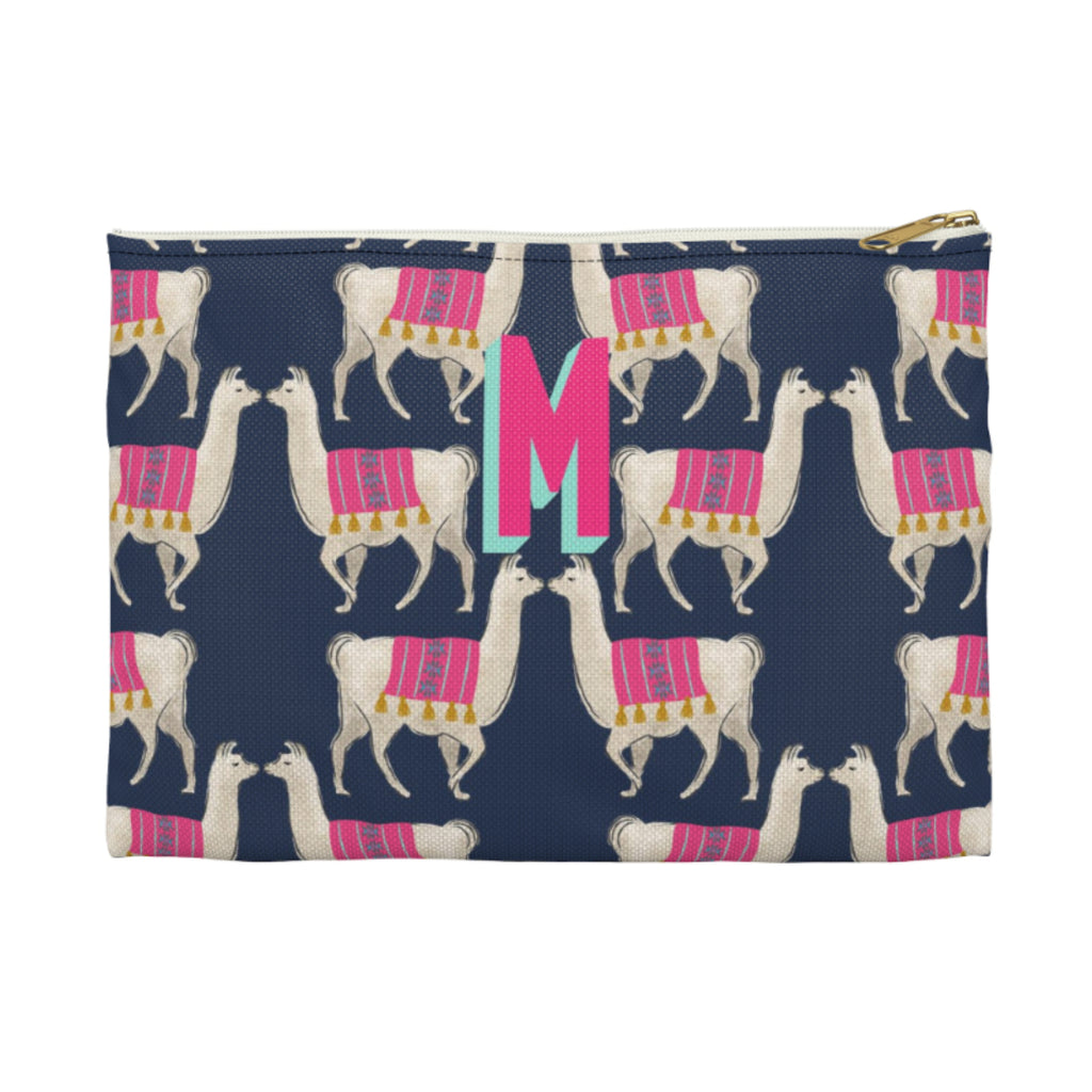 Llama Navy Large Zippered Clutch