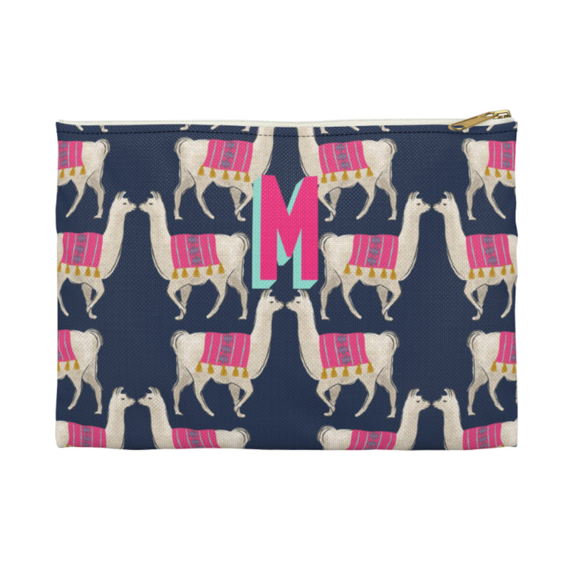 Llama Navy Small Zippered Clutch