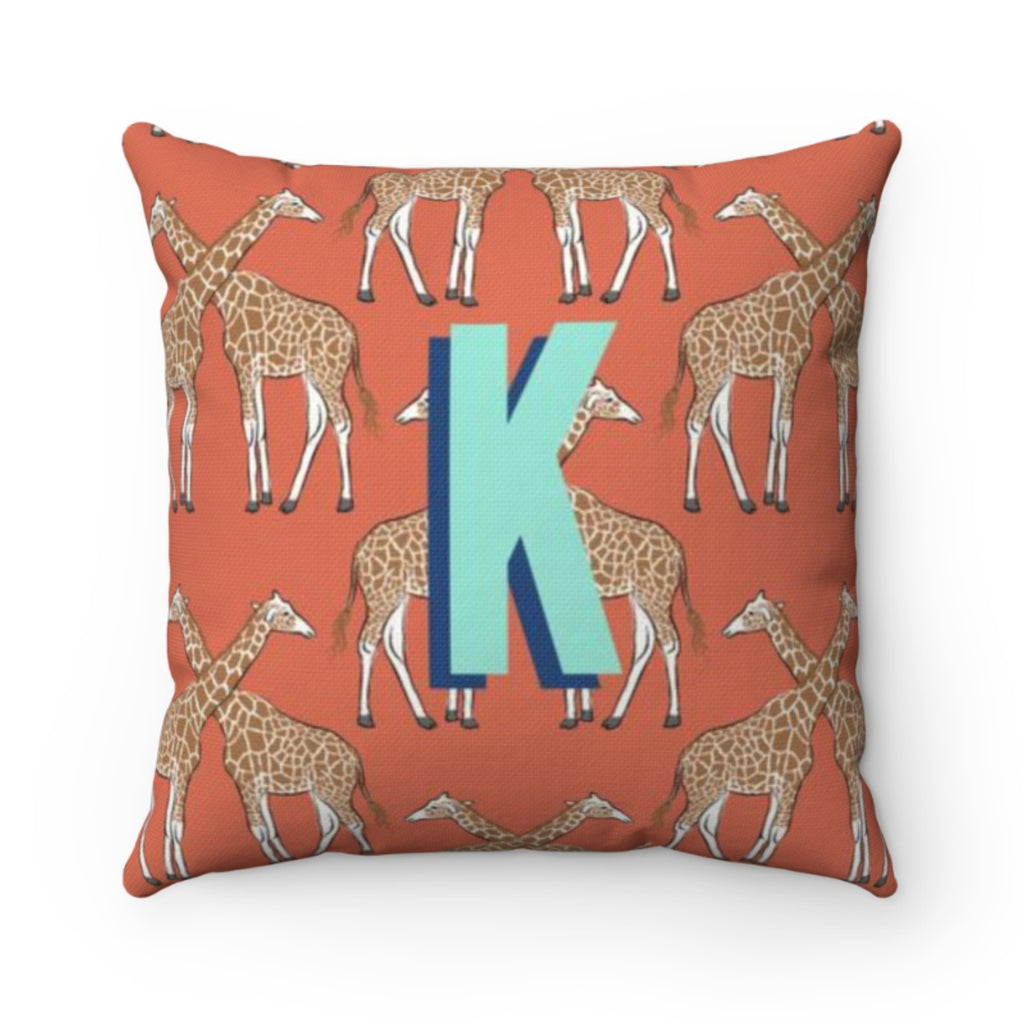 Giraffe Burnt Orange Pillow Cover