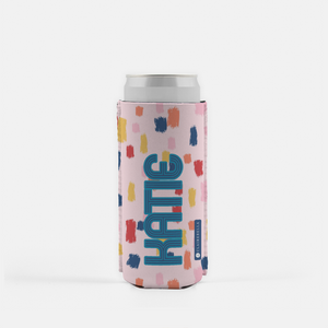 Come On Get Happy! Confetti Pink Slim Can Cooler