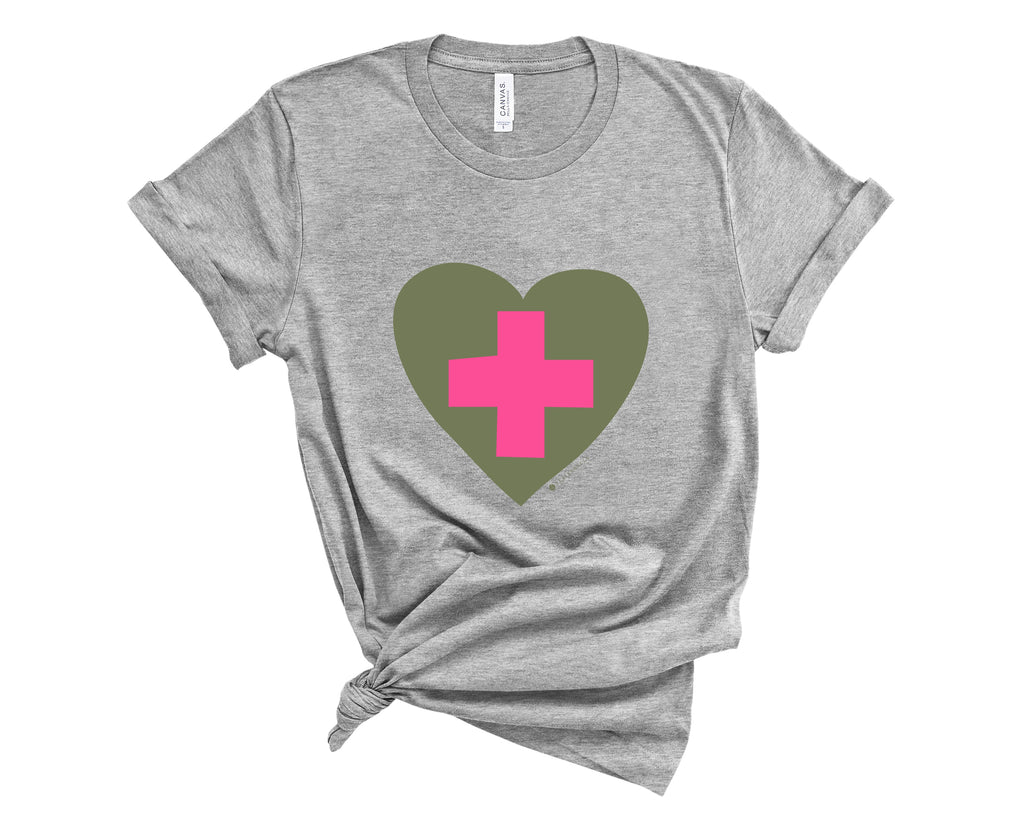 Heather grey, crew neck tee shirt with graphic of a pink healthcare cross inside olive green heart