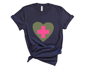 Navy, crew neck tee shirt with graphic of a pink healthcare cross inside olive green heart