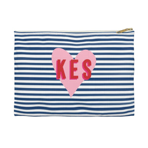 Stripes & Heart Large Zippered Clutch