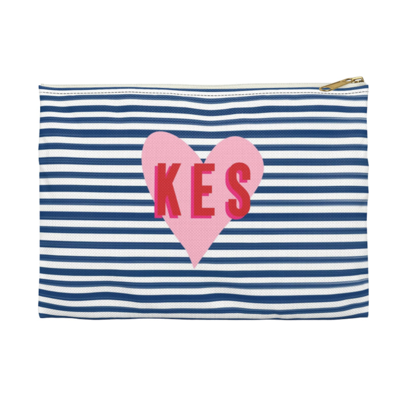 Stripes & Heart Small Zippered Clutch