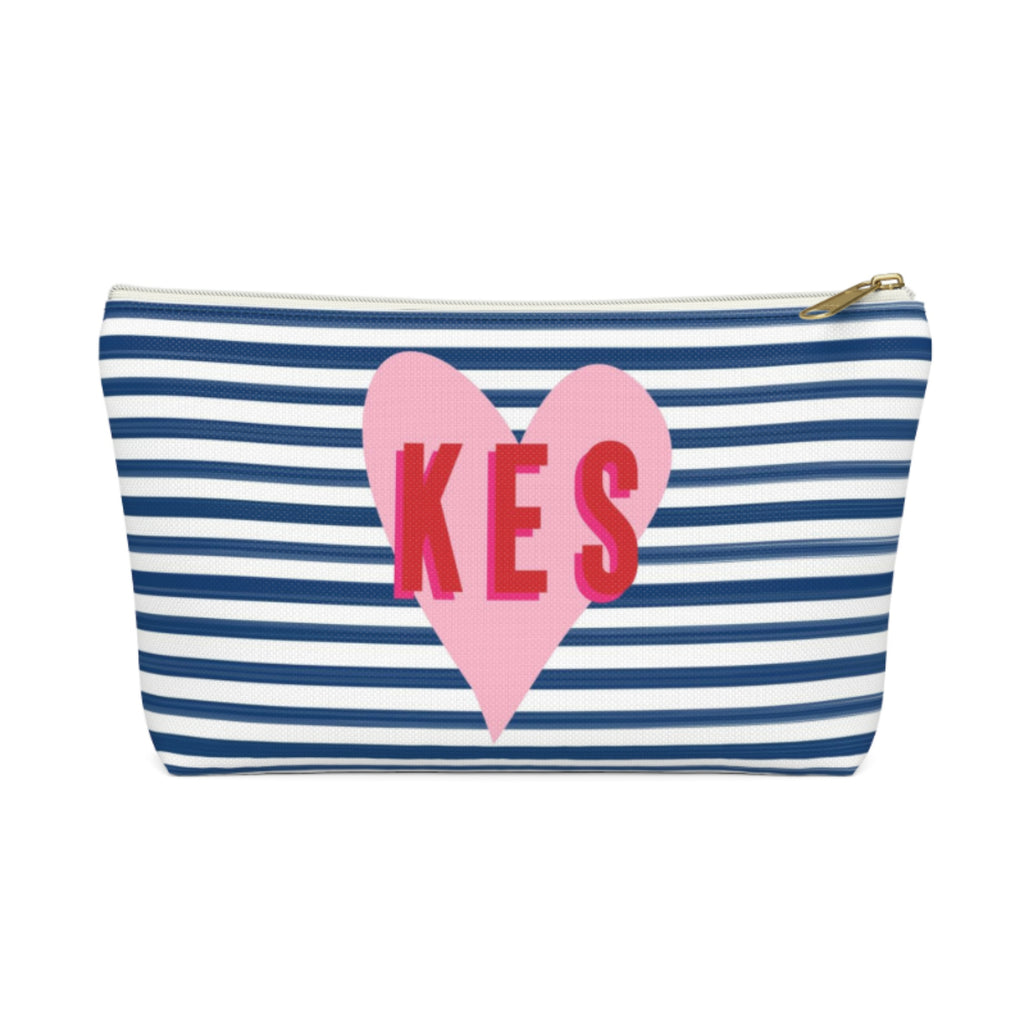 Stripes & Heart Large Zippered Pouch