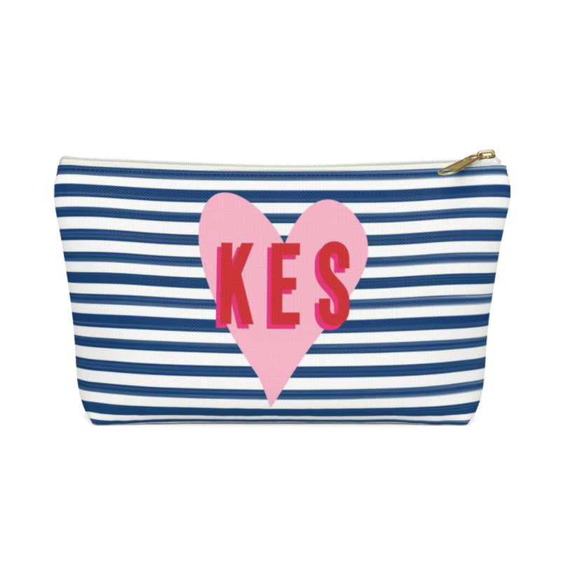 Stripes & Heart Small Zippered Pouch