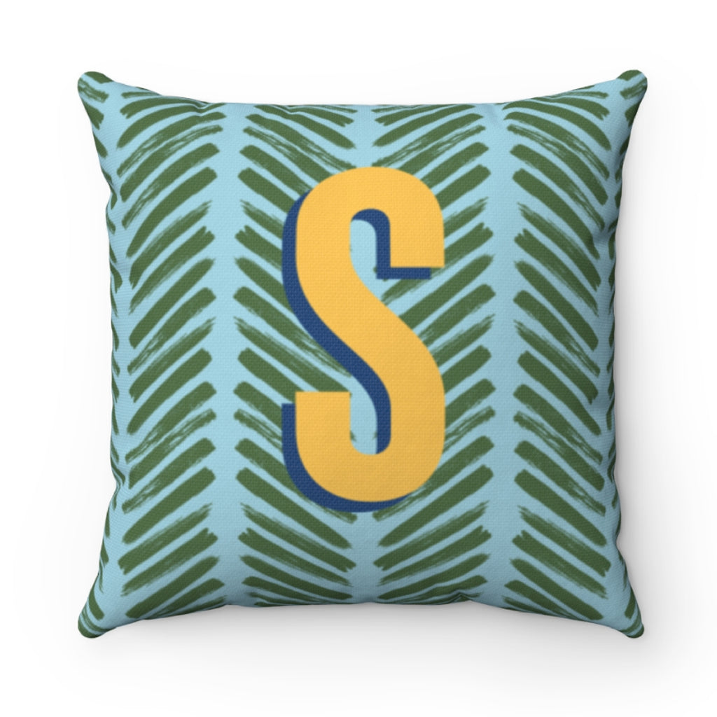 Herringbone Blue Pillow Cover