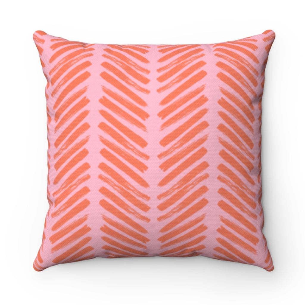 Herringbone Pink Pillow Cover