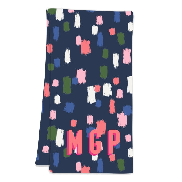 Come On Get Happy! Confetti Navy Hostess Towel