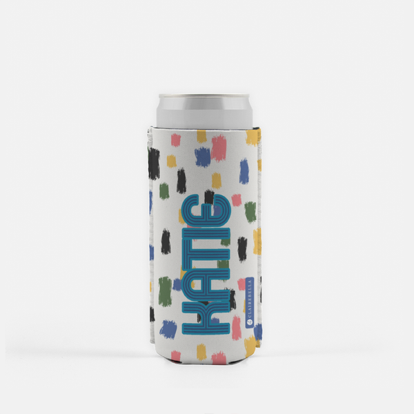 Come On Get Happy! Confetti Ivory Slim Can Cooler
