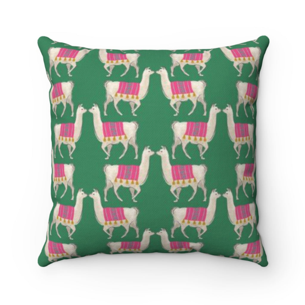 Llama Green Outdoor Pillow
