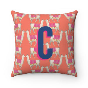 Llama Coral Outdoor Pillow