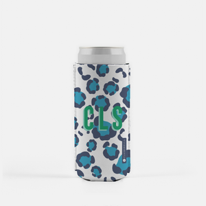 Leopard Spots Blue Slim Can Cooler