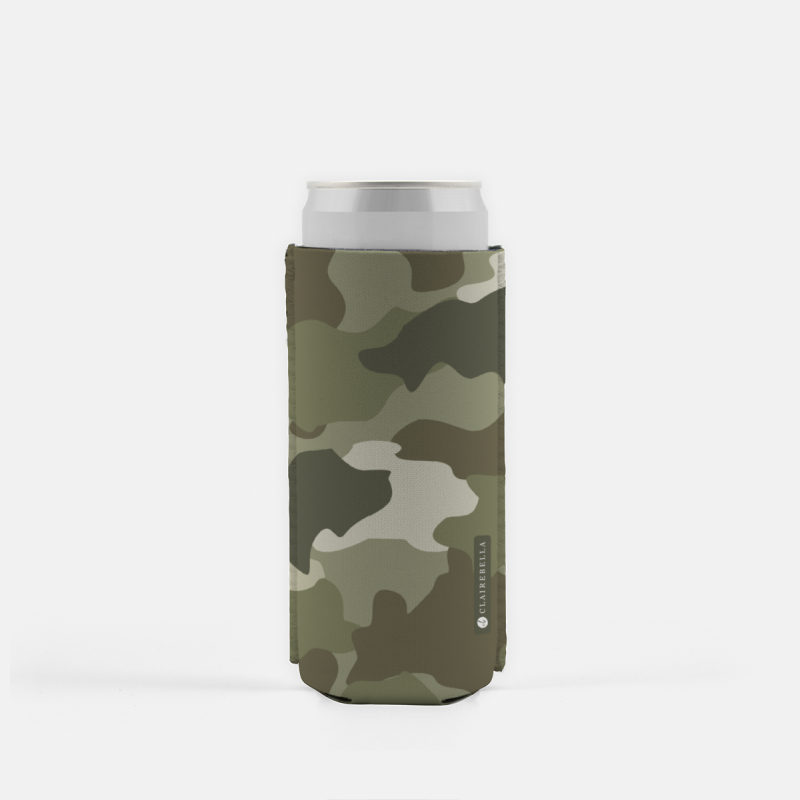 Camo Green Slim Can Cooler