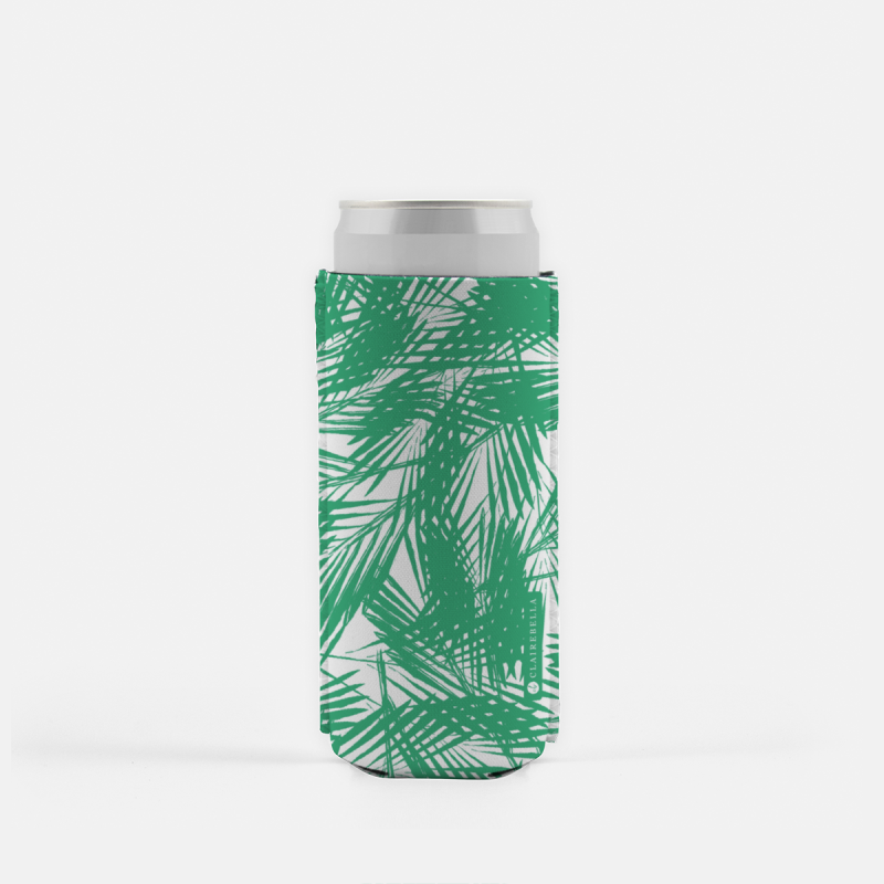 Palm Leaves Green Slim Can Cooler