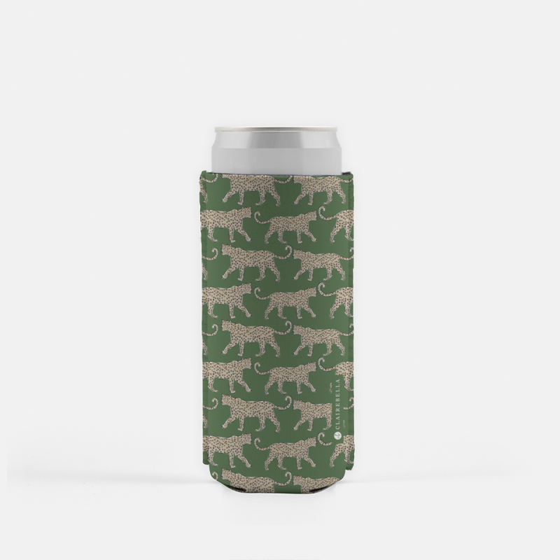 Leopard Green Slim Can Cooler