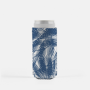 Palm Leaves Navy Slim Can Cooler