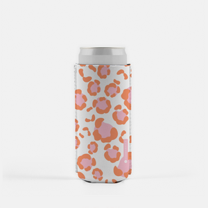 Leopard Spots Pink Slim Can Cooler