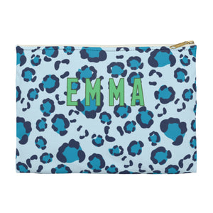 Leopard Spots Blue Large Zippered Clutch