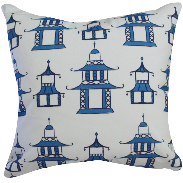 Pagoda Blue Pillow by Clairebella Cover