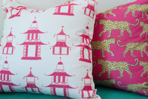 Pagoda Pink Pillow by Clairebella