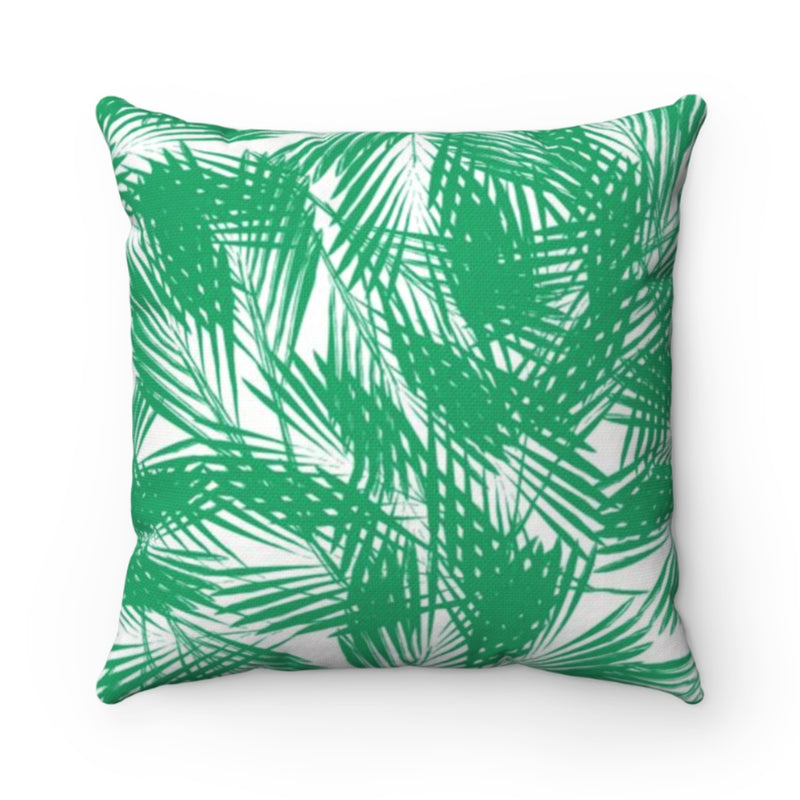 Palm Leaves Green Outdoor Pillow
