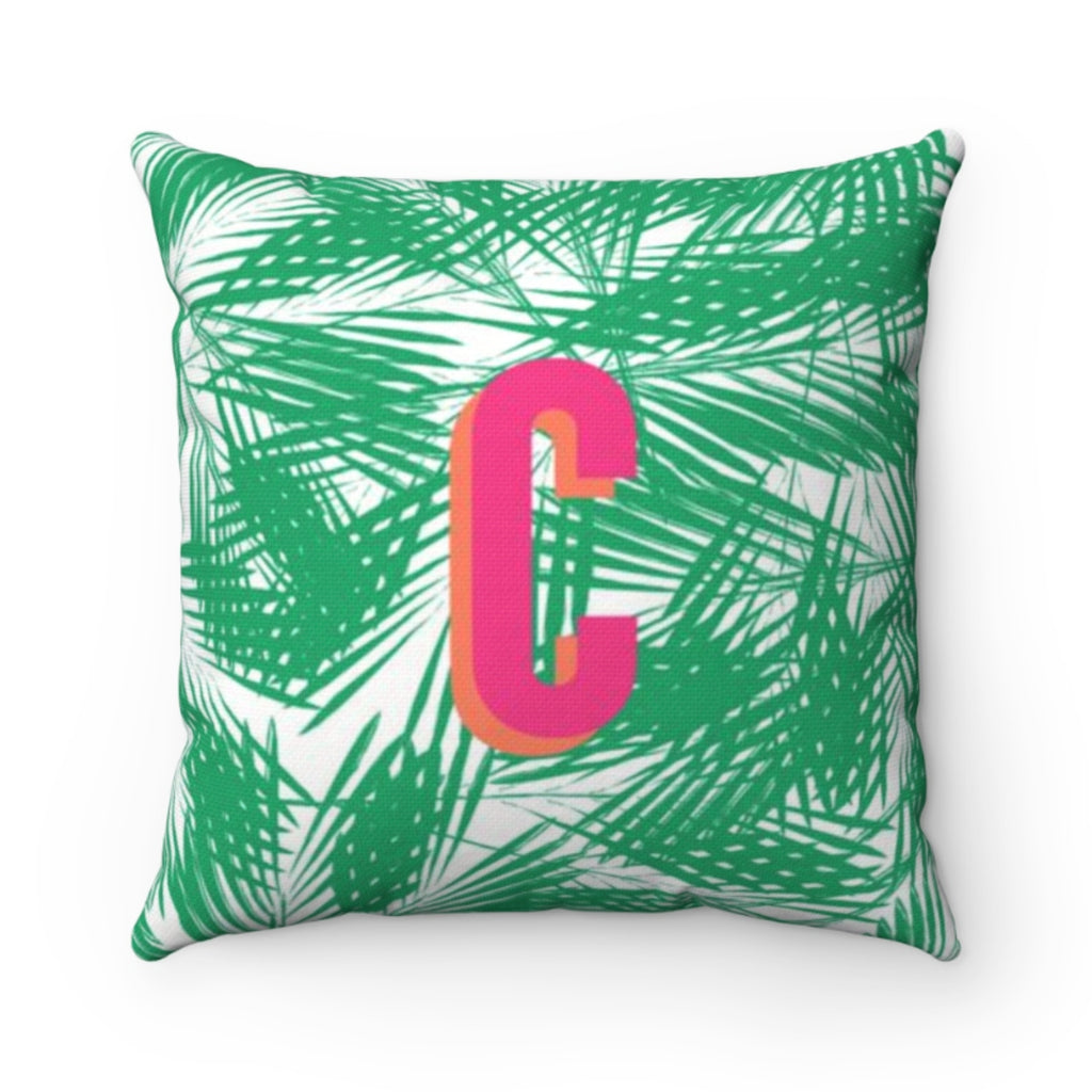Palm Leaves Green Pillow Cover