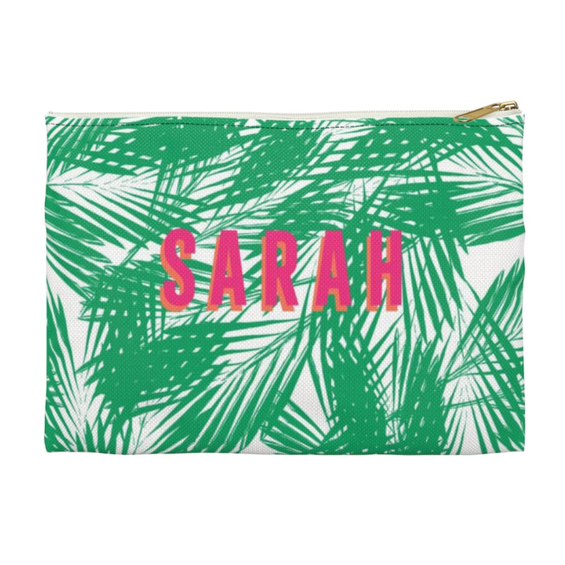 Palm Leaves Green Small Zippered Clutch