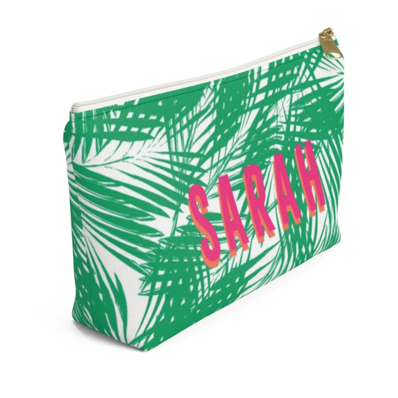 Palm Leaves Green Large Zippered Pouch