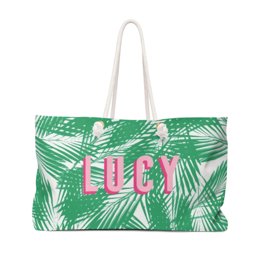 Palm Leaves Green Travel Tote