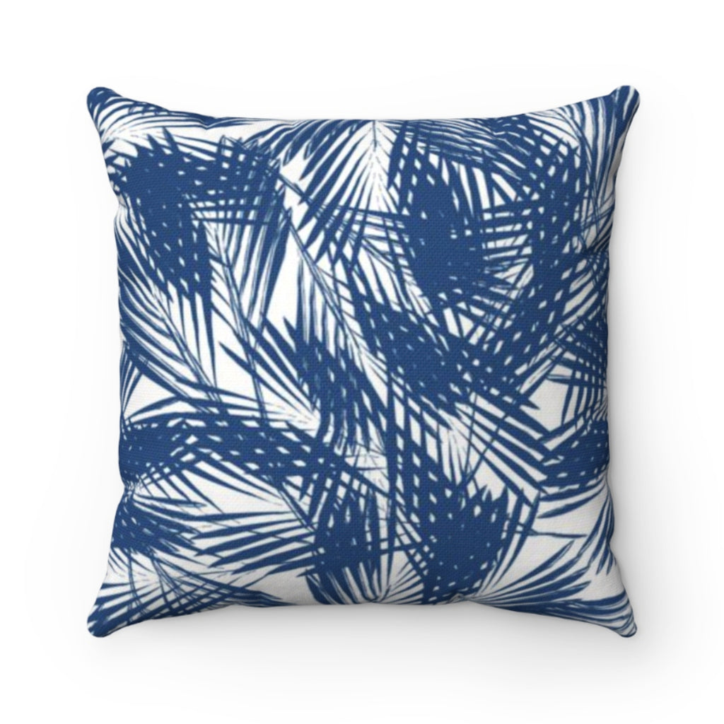 Palm Leaves Navy Outdoor Pillow