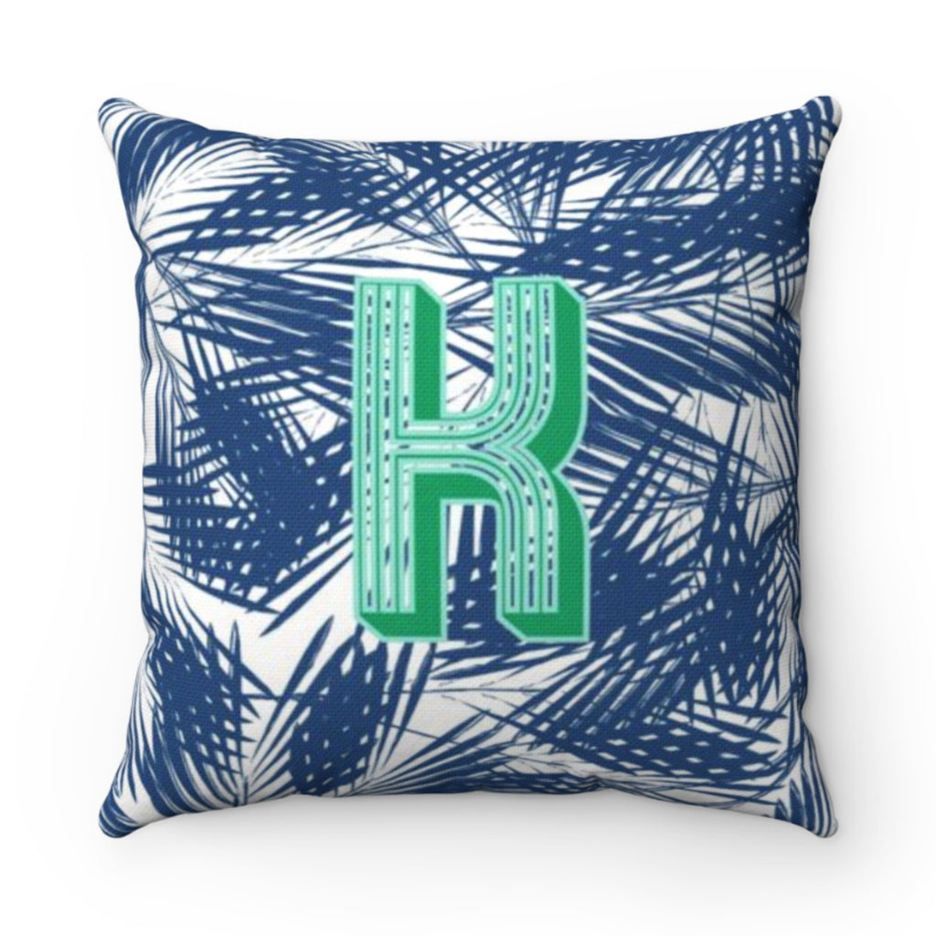 Palm Leaves Navy Pillow Cover