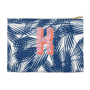 Palm Leaves Navy Large Zippered Clutch