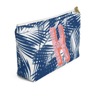 Palm Leaves Navy Small Zippered Pouch