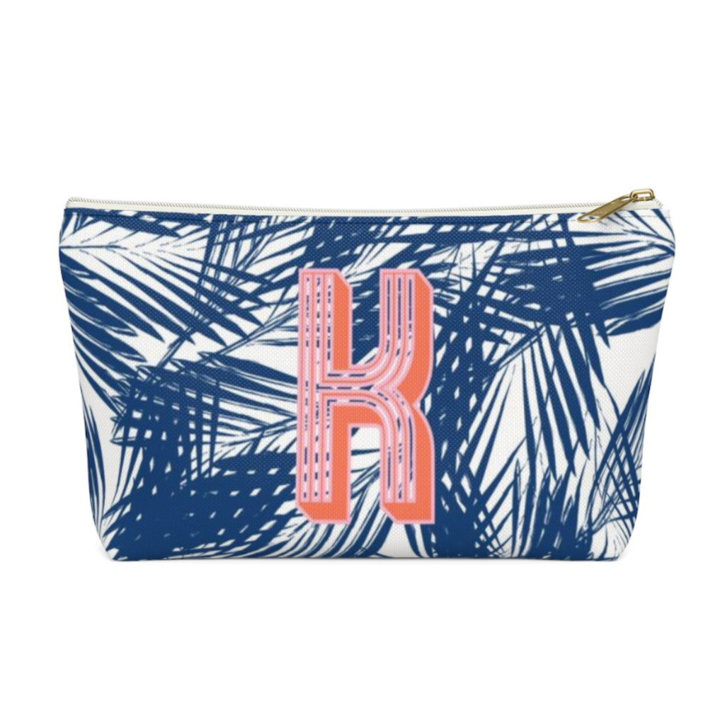 Palm Leaves Navy Large Zippered Pouch