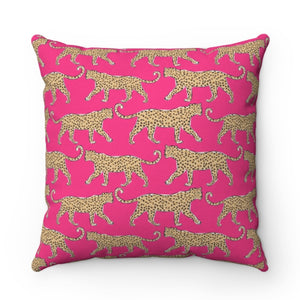 Leopard Pink Pillow by Clairebella