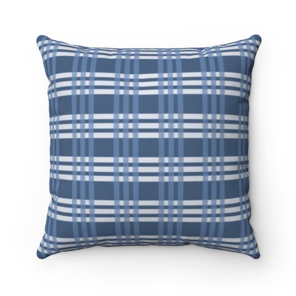 Grayson Plaid Blue Outdoor Pillow
