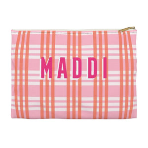 Grayson Plaid Pink Large Zippered Clutch