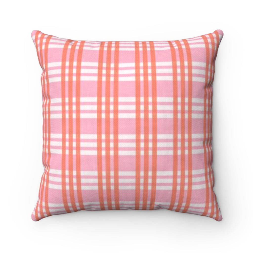 Grayson Plaid Pink Outdoor Pillow