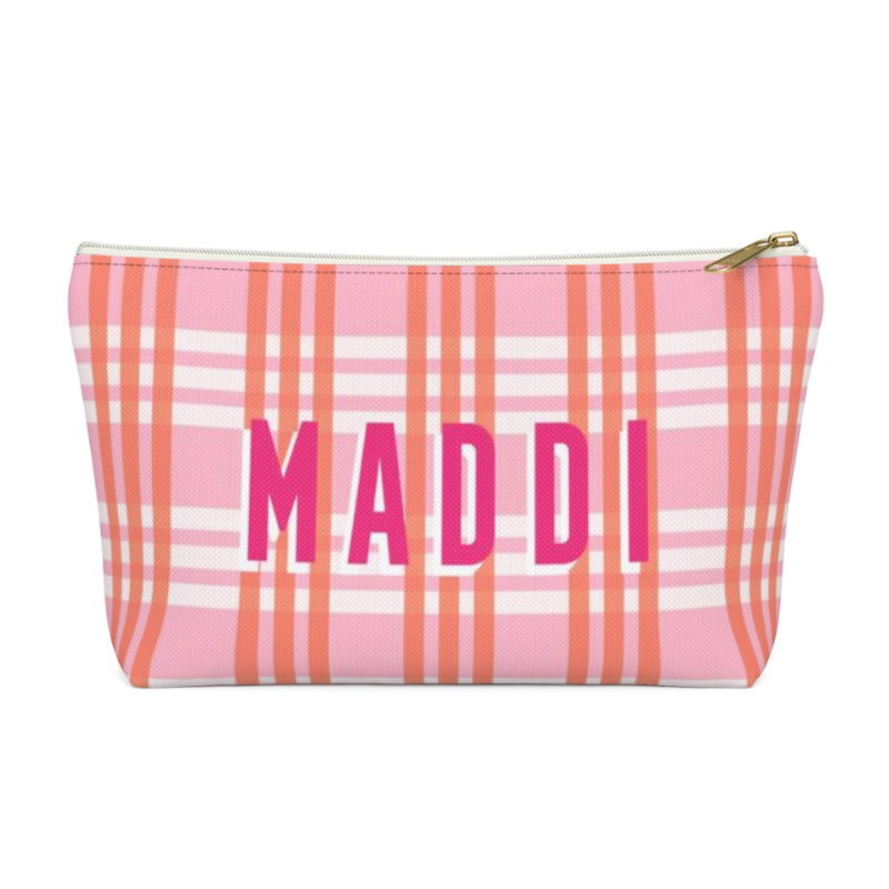 Grayson Plaid Pink Small Zippered Pouch