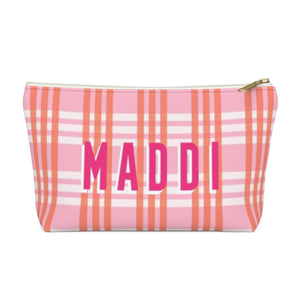 Grayson Plaid Pink Large Zippered Pouch