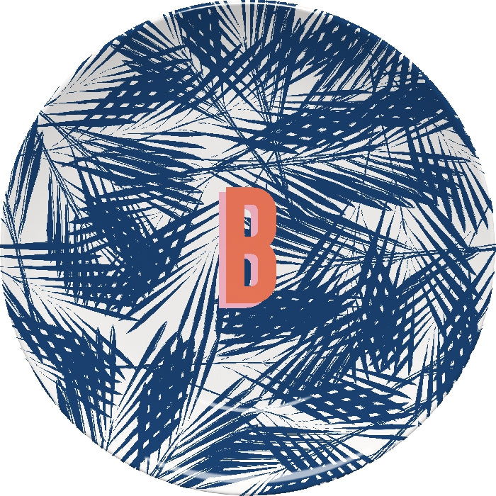 Palm Leaves Navy Plate