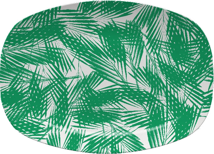Palm Leaves Green Platter