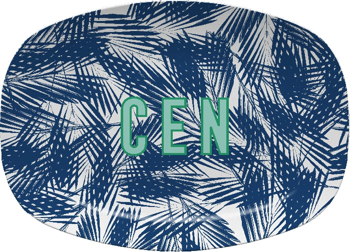 Palm Leaves Navy Platter